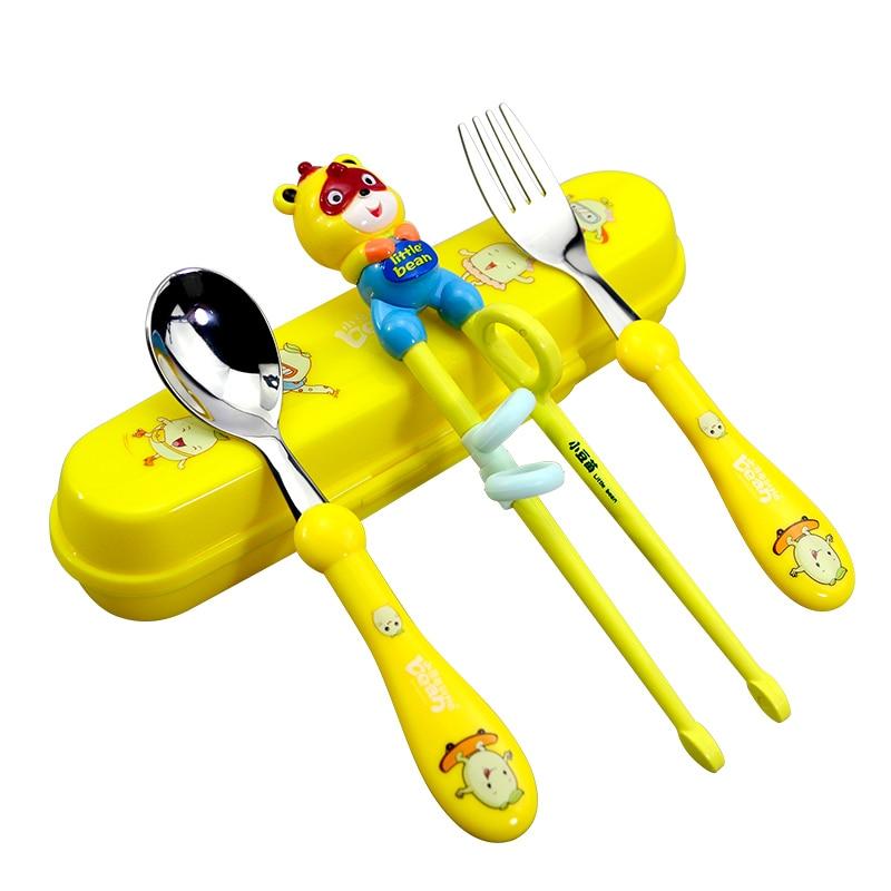 Cartoon Bear Hippo Stainless Steel Dinnerware Set Cutlery Dinner Tableware Plastic Fork Spoon Chopsticks Kitchen Tools Kid Gifts