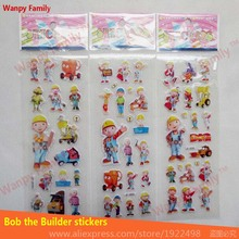 10Pcs/Lot 3d Animated series Bob the Builder wall stickers Pre-school education mini for kids home decor