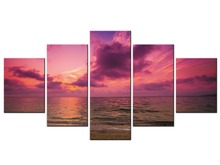 5 Panel canvas art sunset seascape Beach decorative wall painting Modular pictures oil paintings Framed J009-051