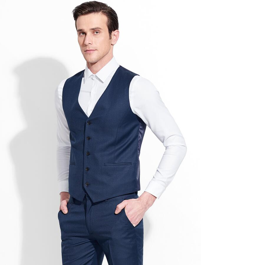 blue work suit promotion shop for promotional blue work suit on dark blue suit vest men formal business work vests single breasted v neck fashion design is the groom s suit vest