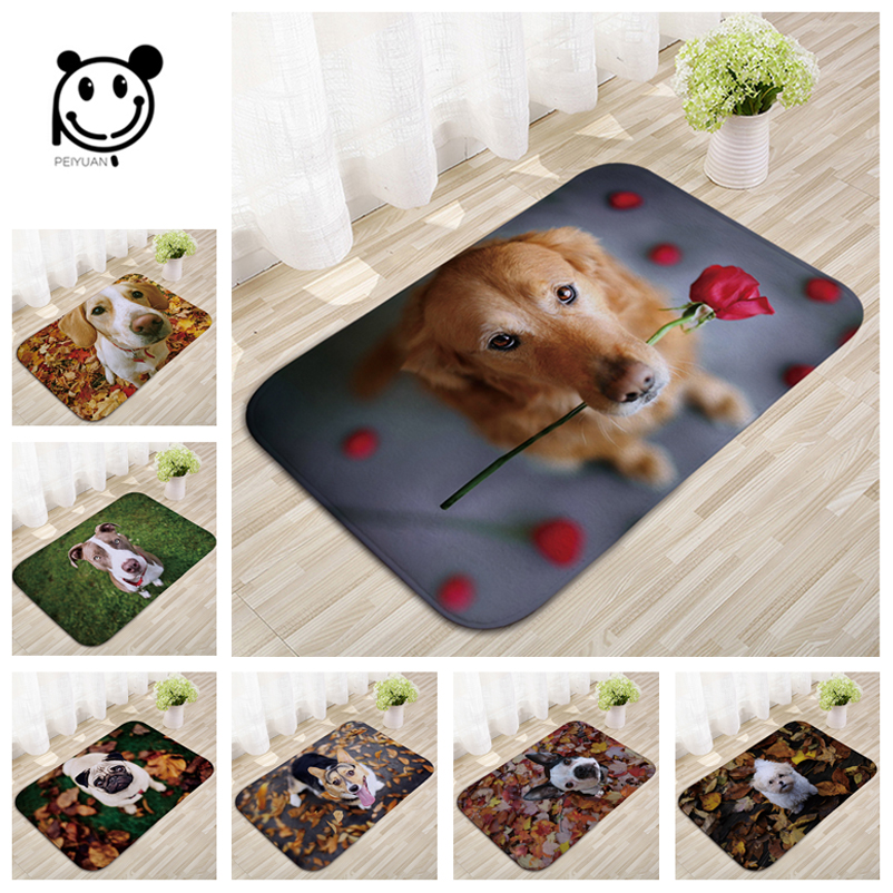 New Arrive 40*60cm Light Thin Anti Slip Mats Brief Cute Cartoon Bulldog Puppy Mats Welcome Home Entrance Door Flannel Rug