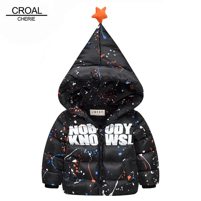 70-110 cm niños niños prendas de abrigo de invierno chaqueta con capucha para bebé niña abrigo de invierno moda de sharp sombrero lindo star bebé ropa traje para la nieve