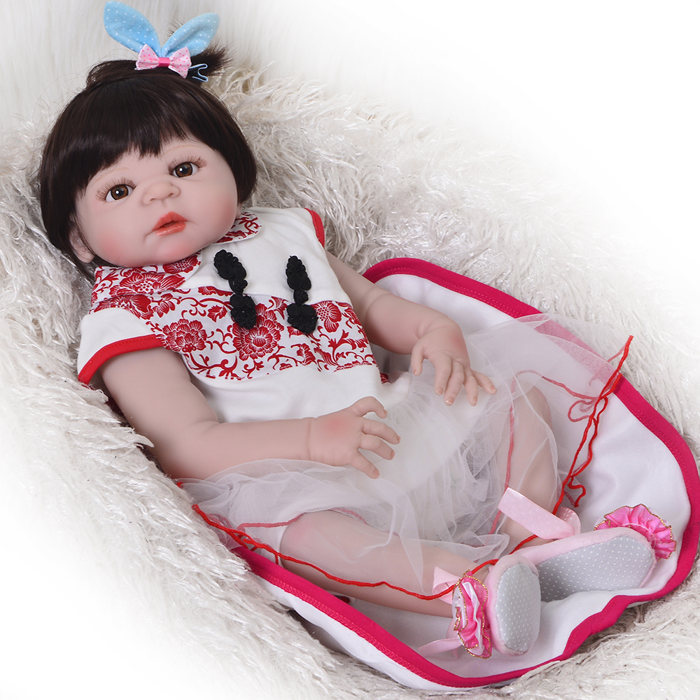 New Arrival 23 Realistic Girl Baby Doll 57cm Baby Reborn De Silicone Completa Handmade China Style Reborn Boneca Kid Xmas GiftNew Arrival 23 Realistic Girl Baby Doll 57cm Baby Reborn De Silicone Completa Handmade China Style Reborn Boneca Kid Xmas Gift