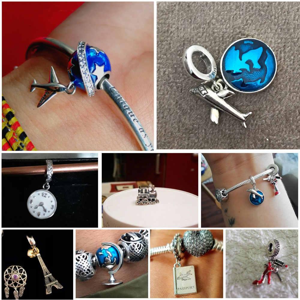 925 Sterling Silver Berloque Torre Eiffel Câmera Da Casa Da Família Sonho de Viagem Xícara de Café Sapatos Charme Fit Charm Bracelet Jóias DIY