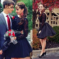 2016 Pearls Beaded Puffy Lace Backless Scoop Above Knee Long Sleeve Homecoming Dresses Black Short Prom Dresses For Teens