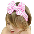 Girl Harajuku Big Bowknot Ribbon Elastic hair accessories cotton Headband Striped Head Band Princess crown children W1