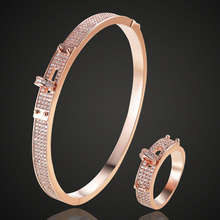 Blucome Womens Zircon Bangle jewelry For Party Perfect Gold color Mens Bangle Pulseira Mujer Women Love Bangle & Braceletes