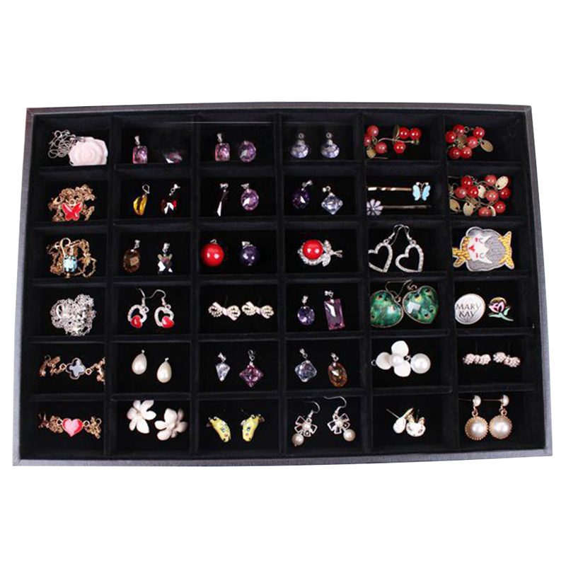 JAVRICK 36 Compartment Jewelry Display Case Storage Box Tray Showcase Organiser Earring Holder 35cmx24cmx3cm(L*W*H)