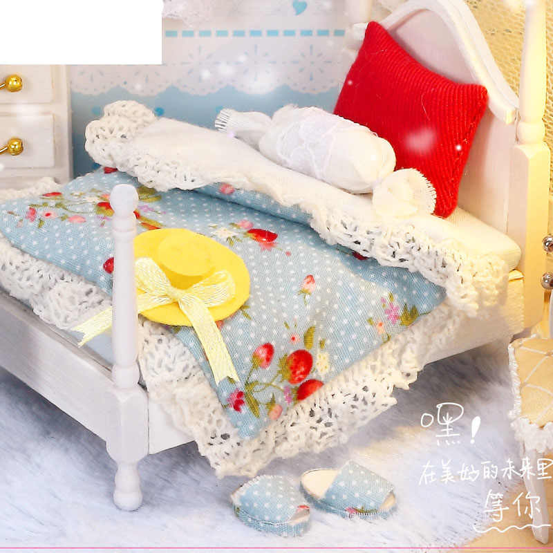 IIE CREATE Doll House Miniature DIY Wooden White Dollhouse Furniture Bedroom for Doll Girl's Toy for Children Birthday Gift
