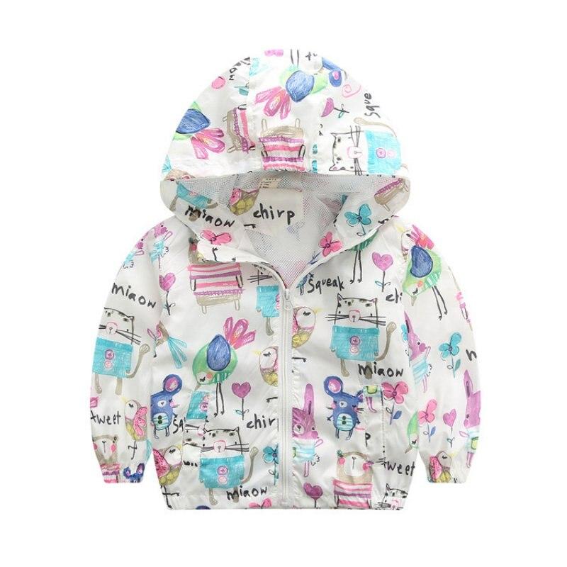 2017 Spring Baby Girl Coat Print Cartoon Graffiti Hooded Zipper Girl Jacket Full Sleeve Toddler Girls