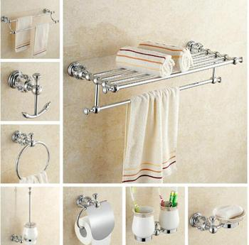 Top high quality solid brass chrome finish Bathroom Accessories Set,Robe hook,Paper Holder,Towel Bar,Soap basket,bathroom sets, фото