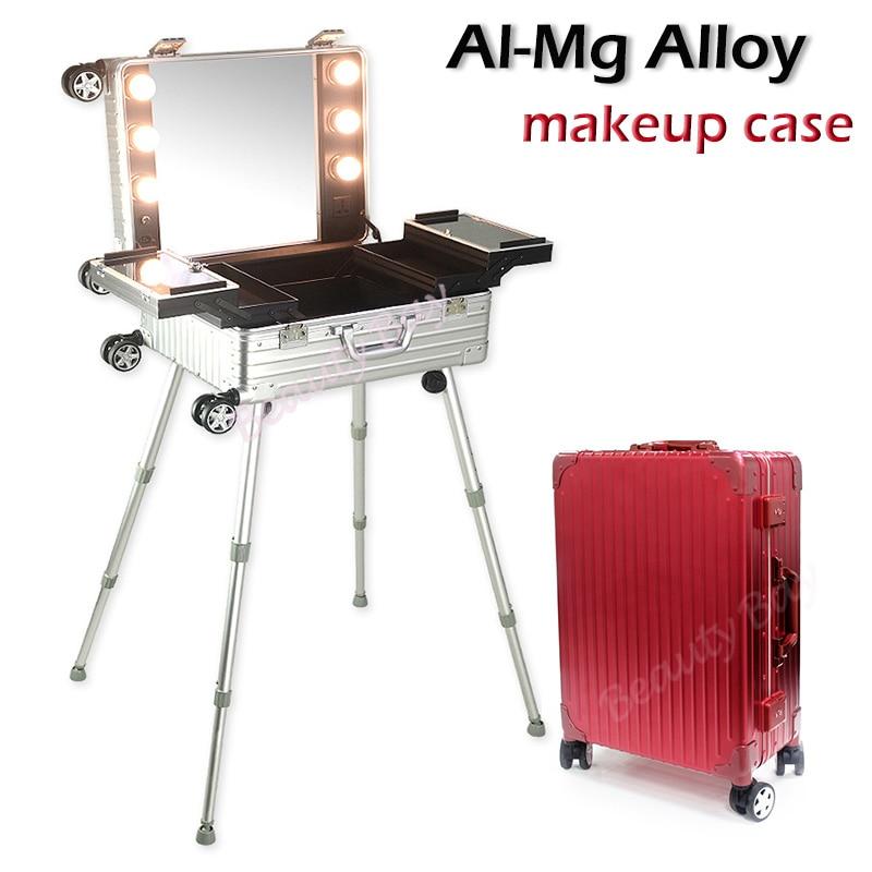 2018 การออกแบบที่ไม่ซ้ำกัน AL Mg Alloy กรณีแต่งหน้ากับไฟ,3 ขนาดต่างๆสำหรับตัวเลือก-ใน กระเป๋าและเคสใส่เครื่องสำอาง จาก สัมภาระและกระเป๋า บน   1