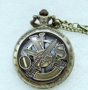 Винтажные модные SAO Sword Art Online кварцт карманные часы ожерелье для детей мужские и женские аналоговые в виде кулона подарок медные часы relogio
