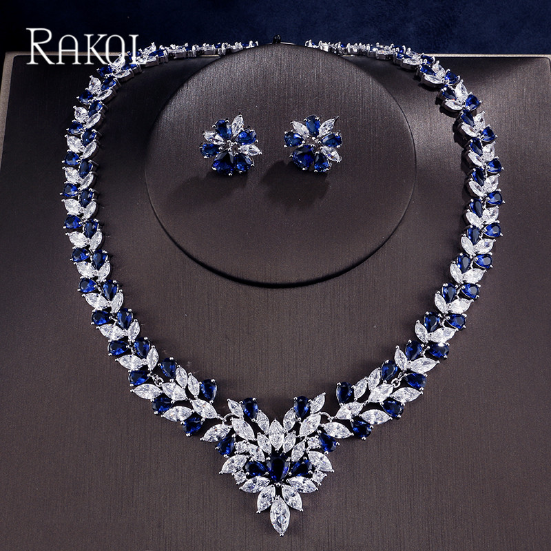 RAKOL New Design Double Color With Full Leaves Shape Cubic Zirconi For Necklace Earring Shiny a Classic Jewelry Set Women perpetuum shiny 22 22 22