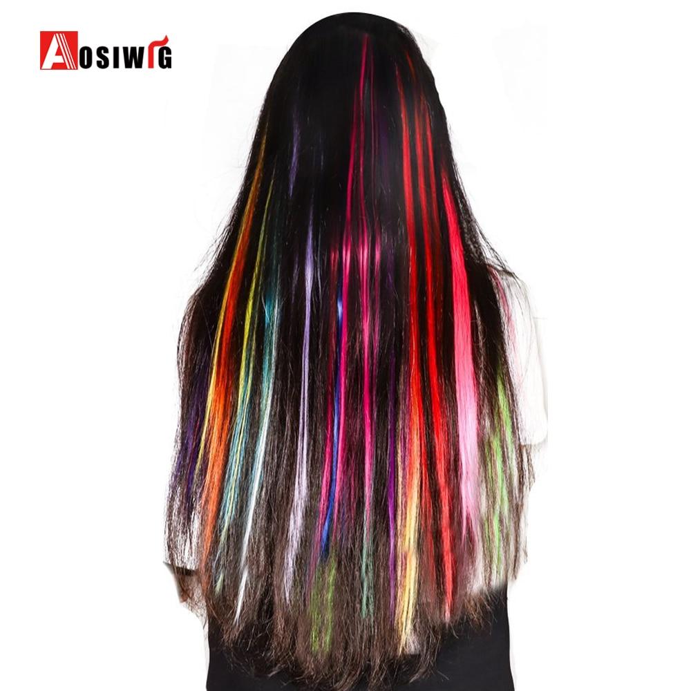 1 stycke 1 klämma i syntetiska hårförlängningar Ombre 19 färger - Syntetiskt hår