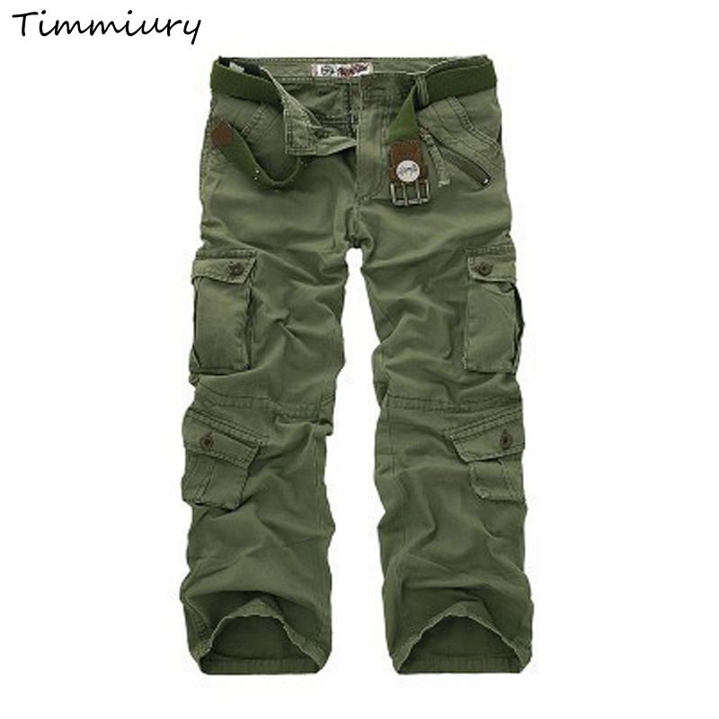 Timmiury 2017 New Cargo Pants Military Tactical Pants Mid Waist Straight Pockets Long Pants Army Green