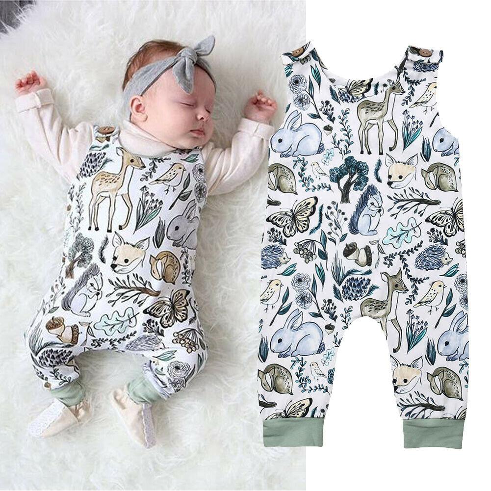 UK Summer Newborn Baby Boy Girl 0-24M Animal Cotton Sleeveless   Romper   Outfits
