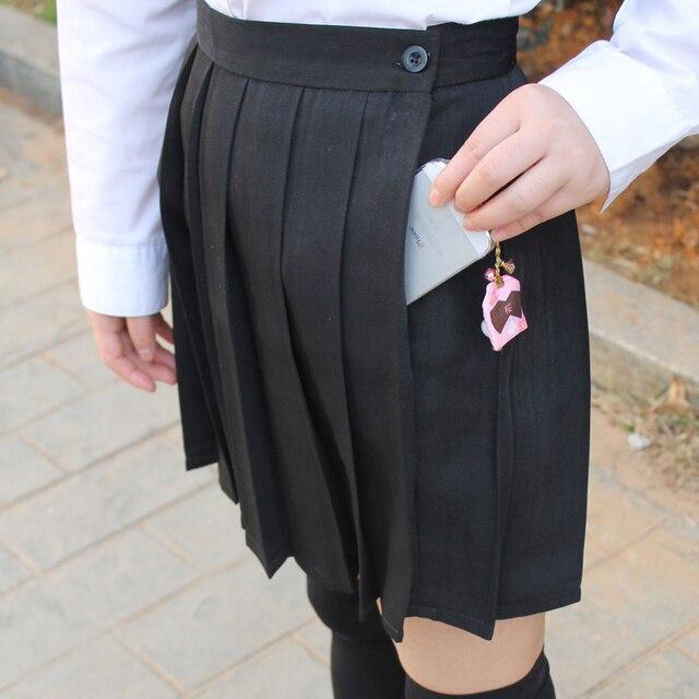 Black color Japanese high waist JK student Girls Cute Cosplay school uniform skirt with pocket