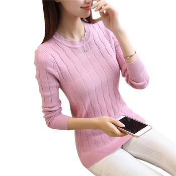 Autumn Winter Sweater Women Solid Knitted Sweaters and Pullovers Long Sleeve Tricot Tops O Neck Basic Pull Femme autumn winter women cotton sweaters and pullovers korean style long sleeve o neck casual sweater loose solid knitted pullovers