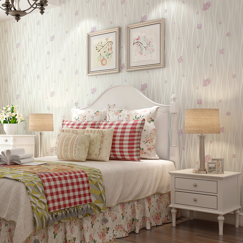Nouveau papier peint rural chaud de haute qualité petite chambre mignonne de fille de fleur non-tissé papier peint doux romance chambre d'enfants - 3