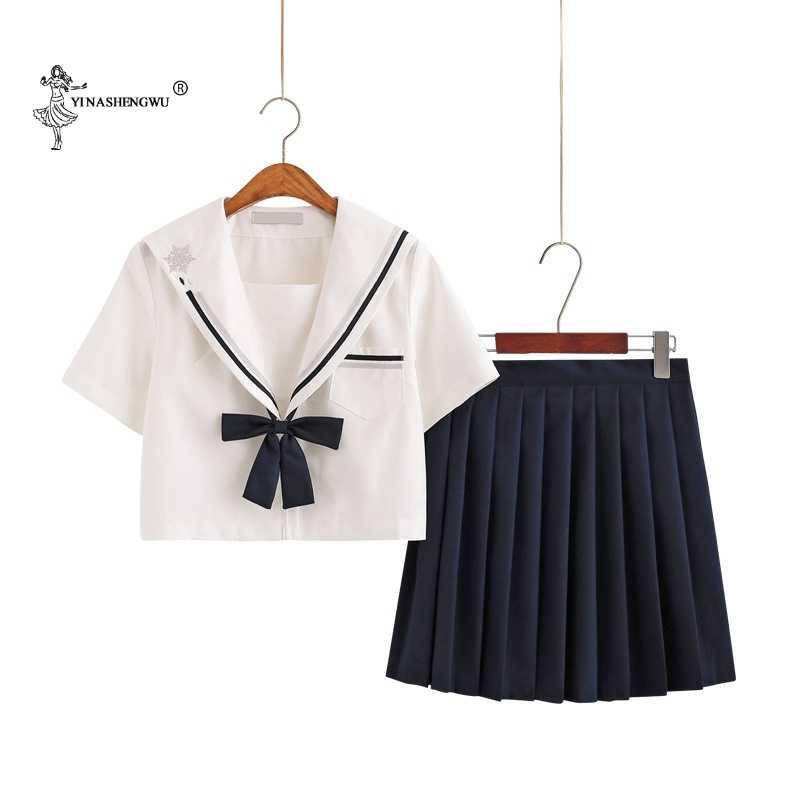 Mùa Thu Hè Nhật Bản Đồng Phục Học Sinh Cho Bé Gái Dễ Thương Dài Thủy Thủ Áo Váy Xếp Ly Full Bộ Cosplay JK Trang Phục series