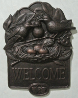 Cast Iron WELCOME Plaque Birds Nest Rural Metal Hanging Wall Door Decor For Shop Store Bar