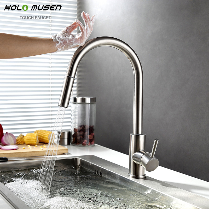 New Lead Free SUS304 Stainless Steel Pull Out Touch Faucet Kitchen Sensitive Touch Control Faucet Mixer Touch Sensor Kitchen Tap