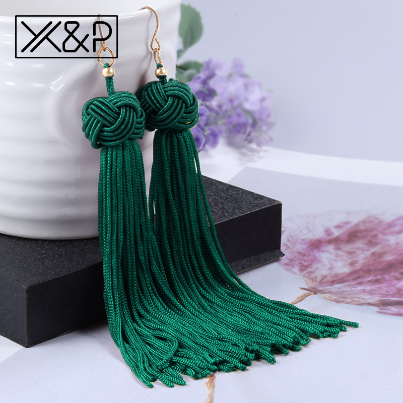 Drop-Earrings Tassel Statement-Fringe Vintage Ethnic Jewelry Dangle Fashion Bohemian