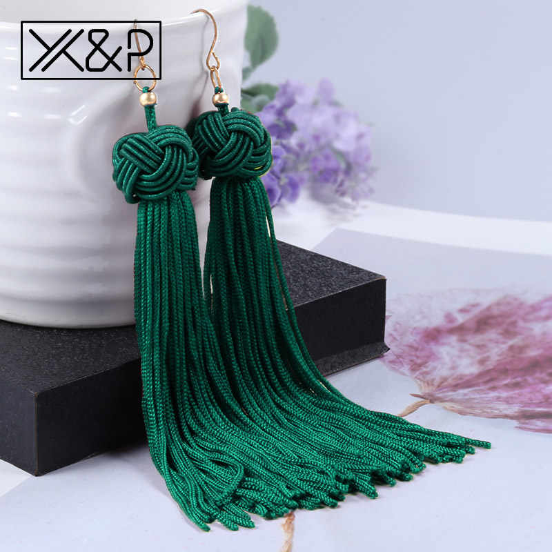 X&P Vintage Ethnic Long Tassel Drop Earrings for Women Lady Fashion Bohemian Statement Fringe Dangle Women Earring 2018 Jewelry