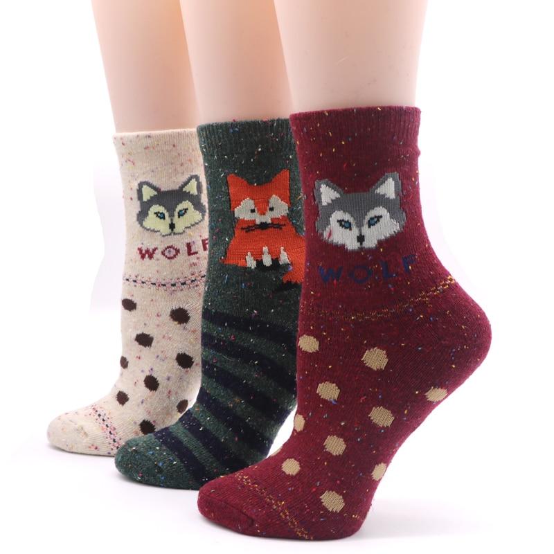 3pairs Cotton Blend Mens Socks With Animals Patterns Autumn Winter Male Compression Dress Socks Fox Warm Socks Meias Homens Elegant Shape Men's Socks