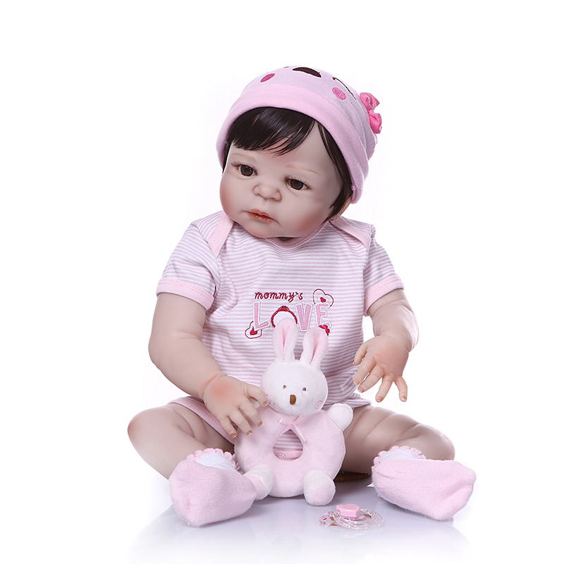 Nicery 22inch 55cm Bebe Reborn Doll Hard Silicone Boy Girl Toy Reborn Baby Doll Gift for Child Pink Sleeping Basket Bady Doll-in Dolls from Toys & Hobbies    2