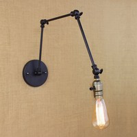industrial retro vintage black adjust head swing arm wall lamps e27 lights sconce for bedside bedroom corridor luminaire bar