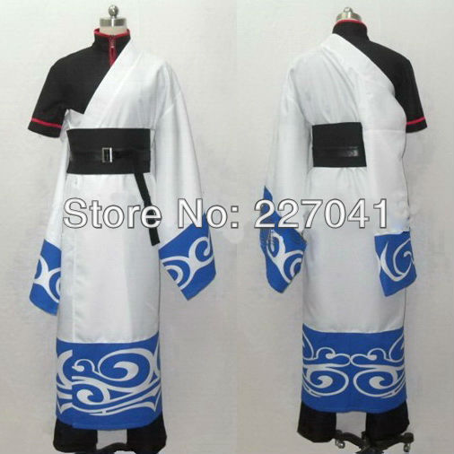 Gintama Sakata Gintoki Cosplay Costume Kimono Tailored Halloween Free Shipping
