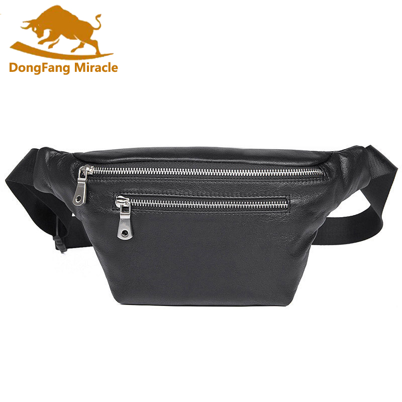 Brand Casual Men Genuine Leather Waist Packs Men Organizer Travel Waist Pack Necessity Waist Belt Mobile Phone Bag