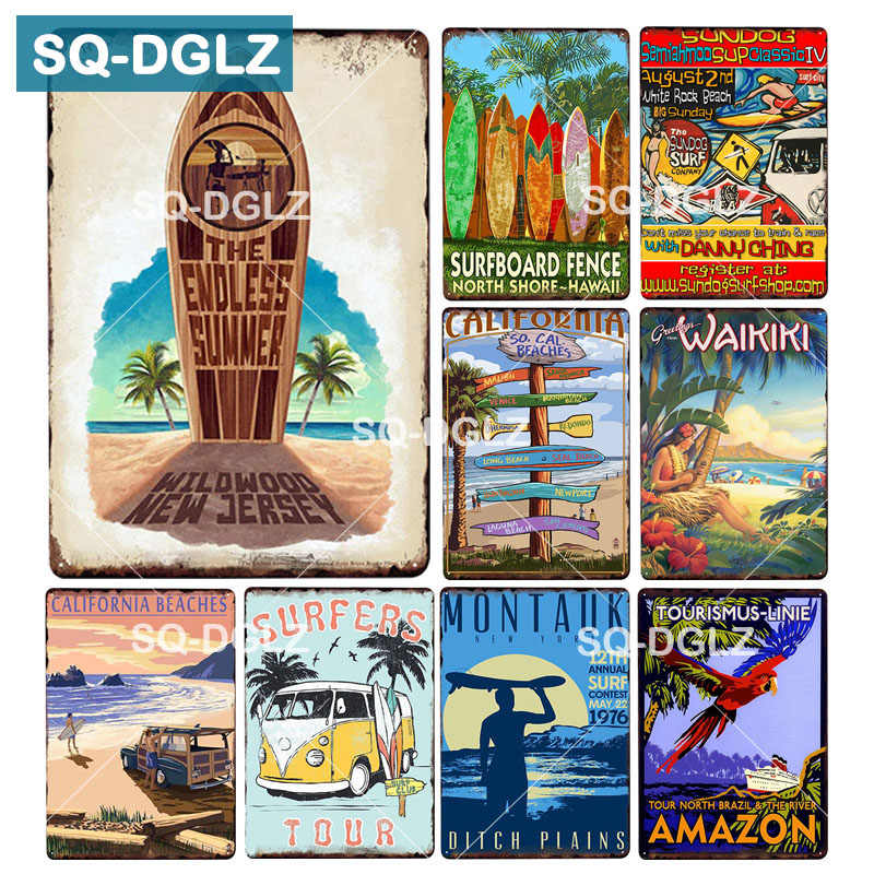 [SQ-DGLZ]California Beaches License Plate The Endless Summer Wall Decor Tin Sign Vintage  SURFBOARD Metal Sign Painting Plaques