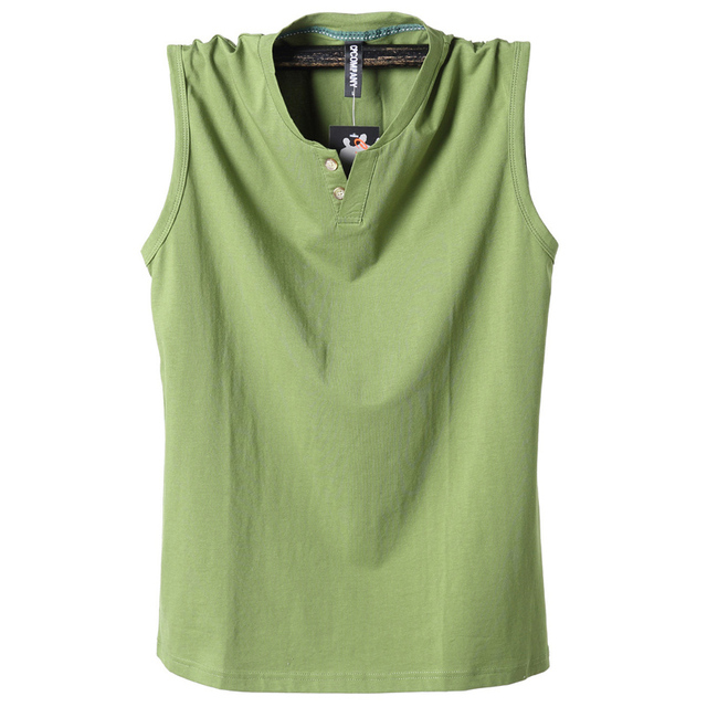 Cotton Classic Men Tank Tops with Buttons