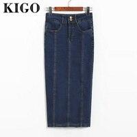KIGO Spring Autumn Jeans Pencil Skirt Denim Skirt Long High Waist Jeans Slim Bodycon Skirt Saias