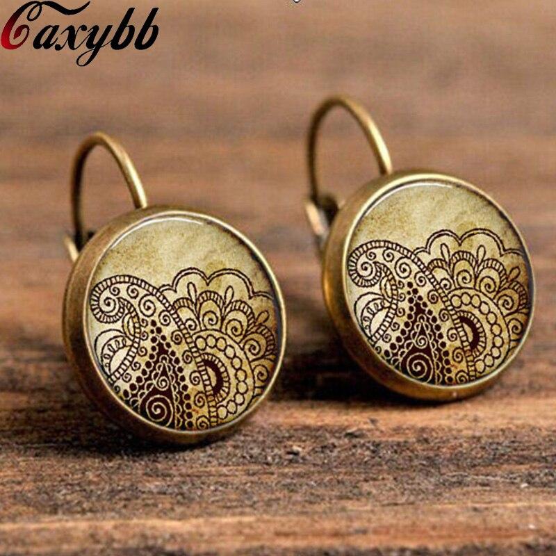 Vintage anting perhiasan anting simbol om mandala bunga henna yoga zen  buddhisme sepasang kaca cabochon handmade earring c-e268 17a45f7533