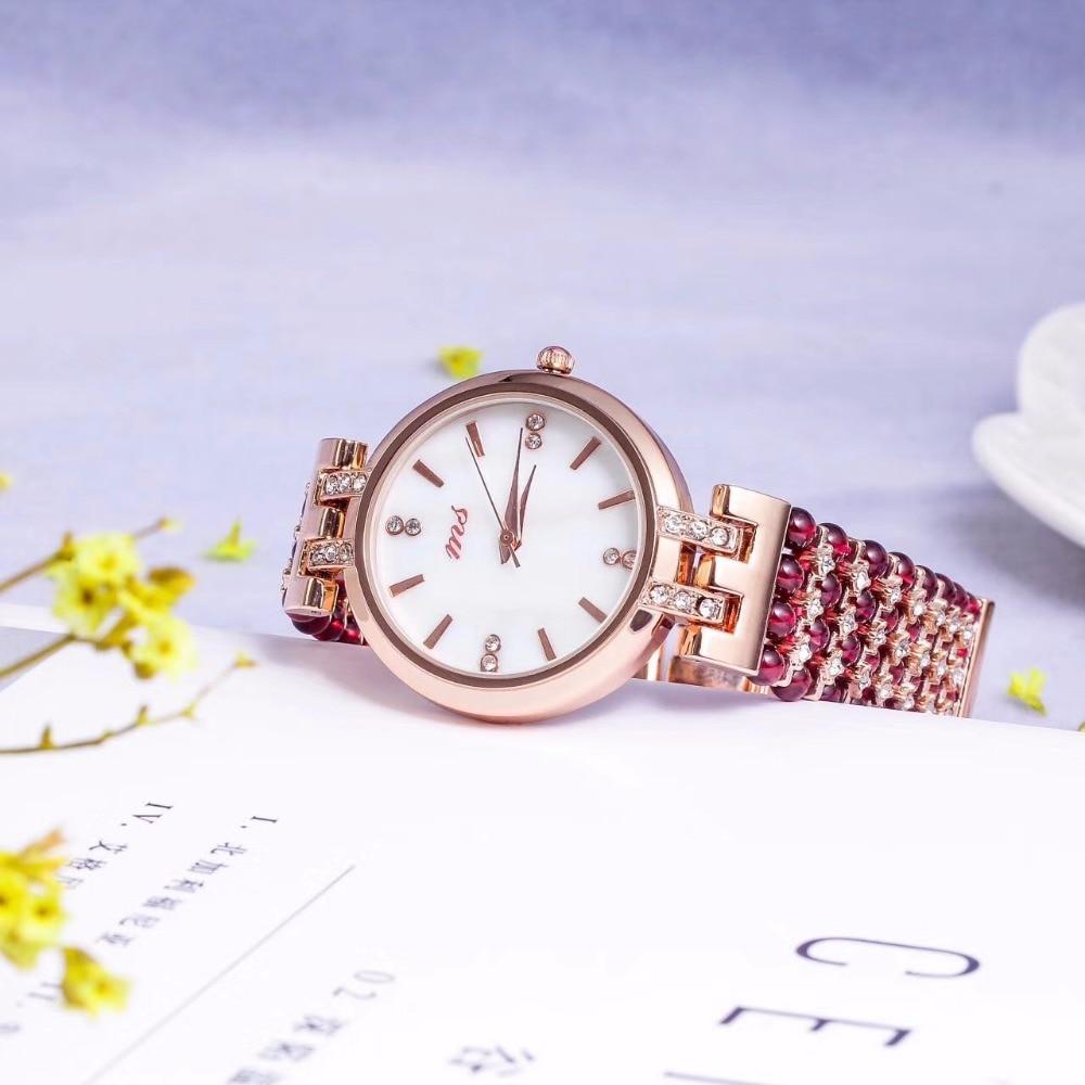 natural garnet stone bracelet 33mm watch DIY jewelry for woman waterproof watch for summer beach free