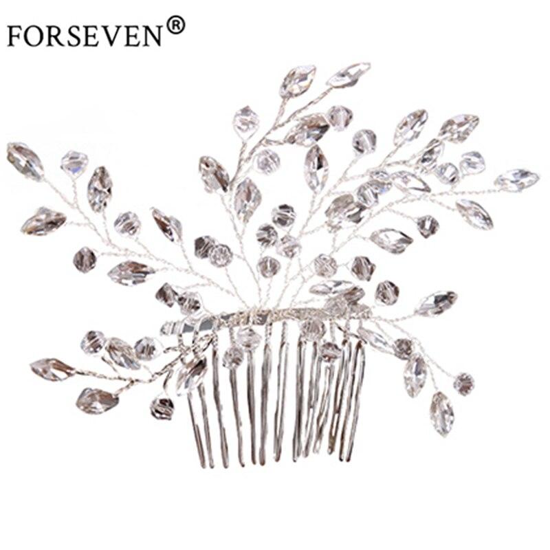 Shiny Silver Crystal Wedding Hair Combs New Trendy Handmade Women Bride Hair Jewelry optimal Wedding Headpieces Accessories