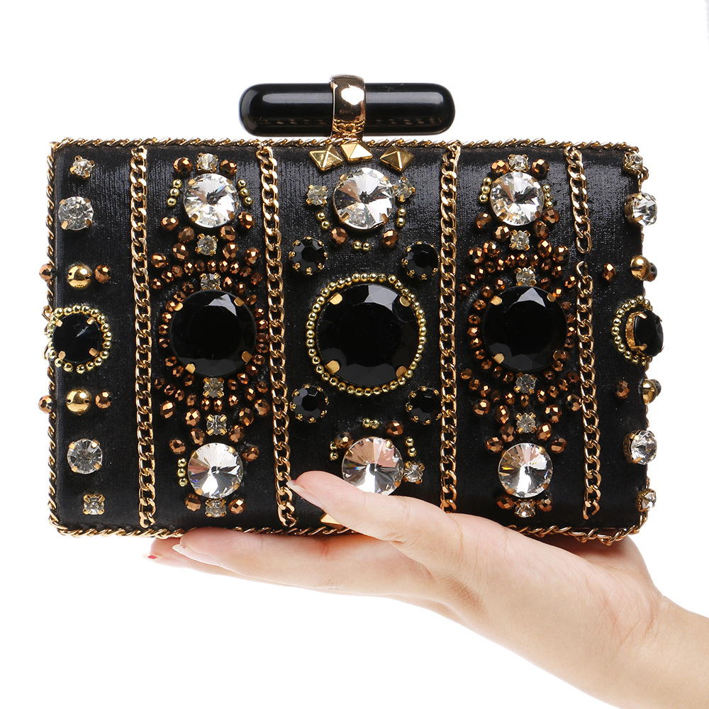 ФОТО Baroque Style Luxury Diamond Trunk Evening Bag Clutches Purely Handmade Important Appointment Party Bag Princess Noble Favorites