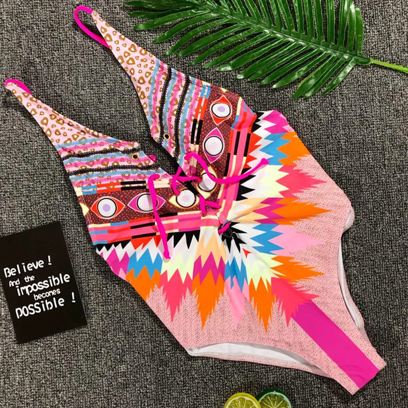 <font><b>2019</b></font> <font><b>Sexy</b></font> One Piece Swimsuit Bikini Push Up Swimwear Women Floral Print Bandage Beach wear Bathing Suit Monokini <font><b>maillot</b></font> <font><b>de</b></font> <font><b>bain</b></font> image