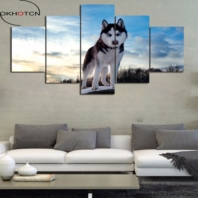 Cool Us 6 63 49 Off Okhotcn Framed Landscape Painting On Canvas Snow Scenery Lovely Dog Animal Poster Scenery Pictures Prints Living Room Decoration In Cjindustries Chair Design For Home Cjindustriesco