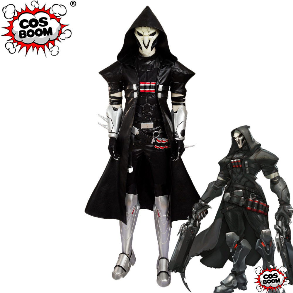 COSBOOM Game OW Cosplay Costume Reaper Deluxe Outfit Halloween Carnival Costume Superhero OW Reaper Cosplay Costume