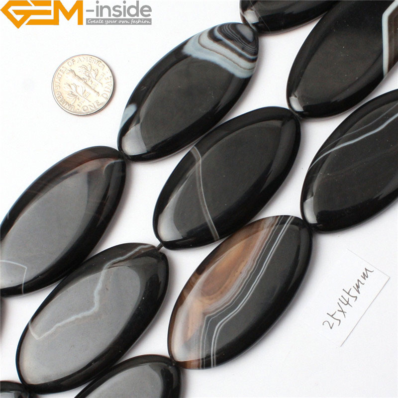 """13x18mm Indian Black Agate Onyx Oval Loose Beads 15/"""""""