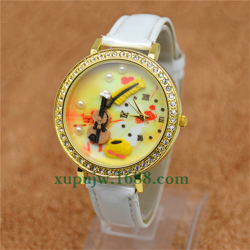 Fashion Diamond Dial Wrist Watch Women 3D Soft Pottery Clock Quartz Watch Cartoon Violin Leather Belt reloj dama 6pcs fashion stick aluminium pole clay pottery tools 11 5cm length for art pottery sculpture