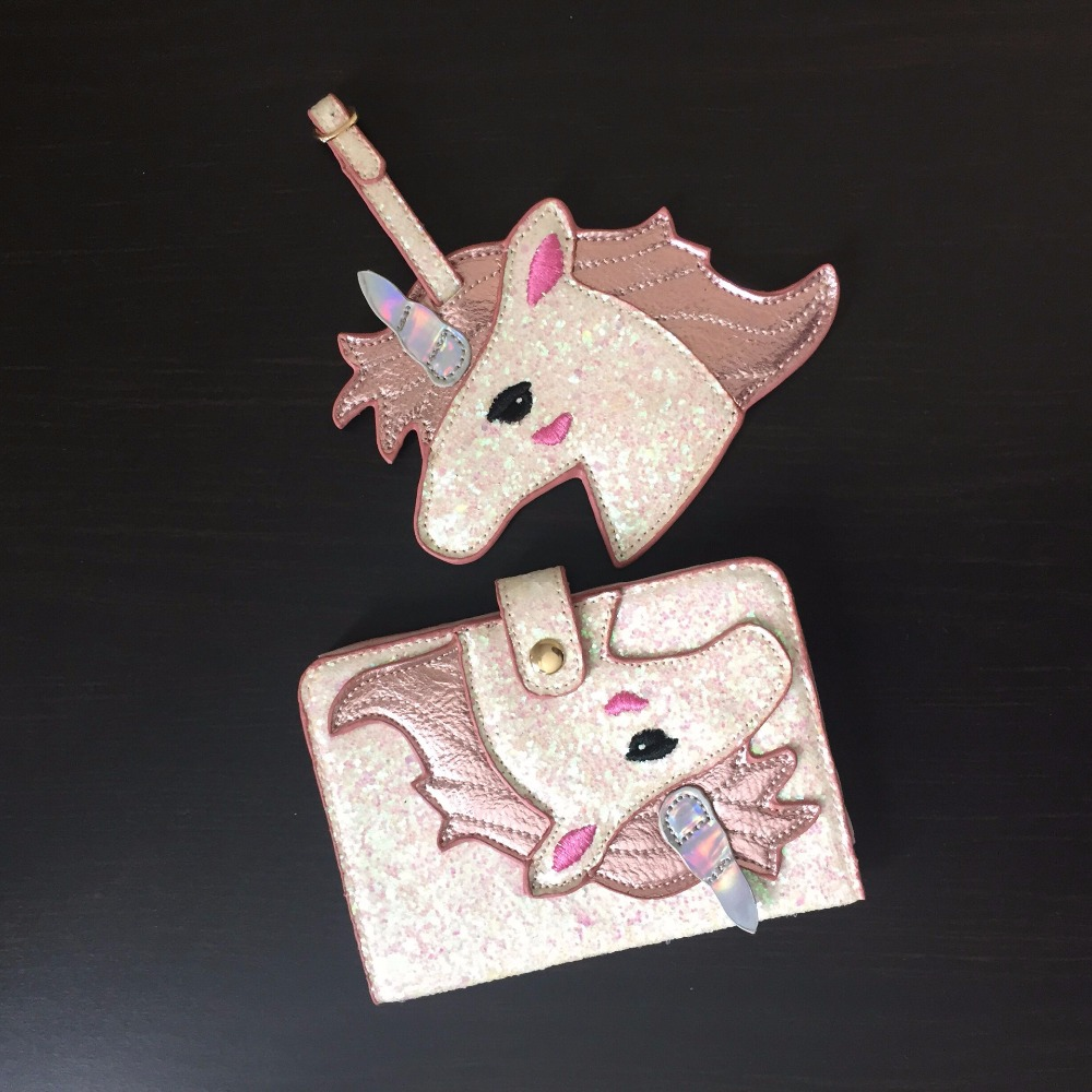 1 Set Shiny Pink Unicorn Flamingo PU Passport Holder Storage Womens Documents Folder Bag Mini Wallet Tag Travel Accessories Gift