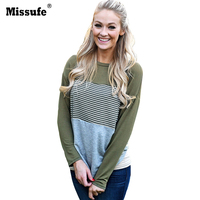 Missufe 2017 Autumn O Neck Long Sleeve Shirt Blouses Women Casual Striped Patchwork Stretchy Tops