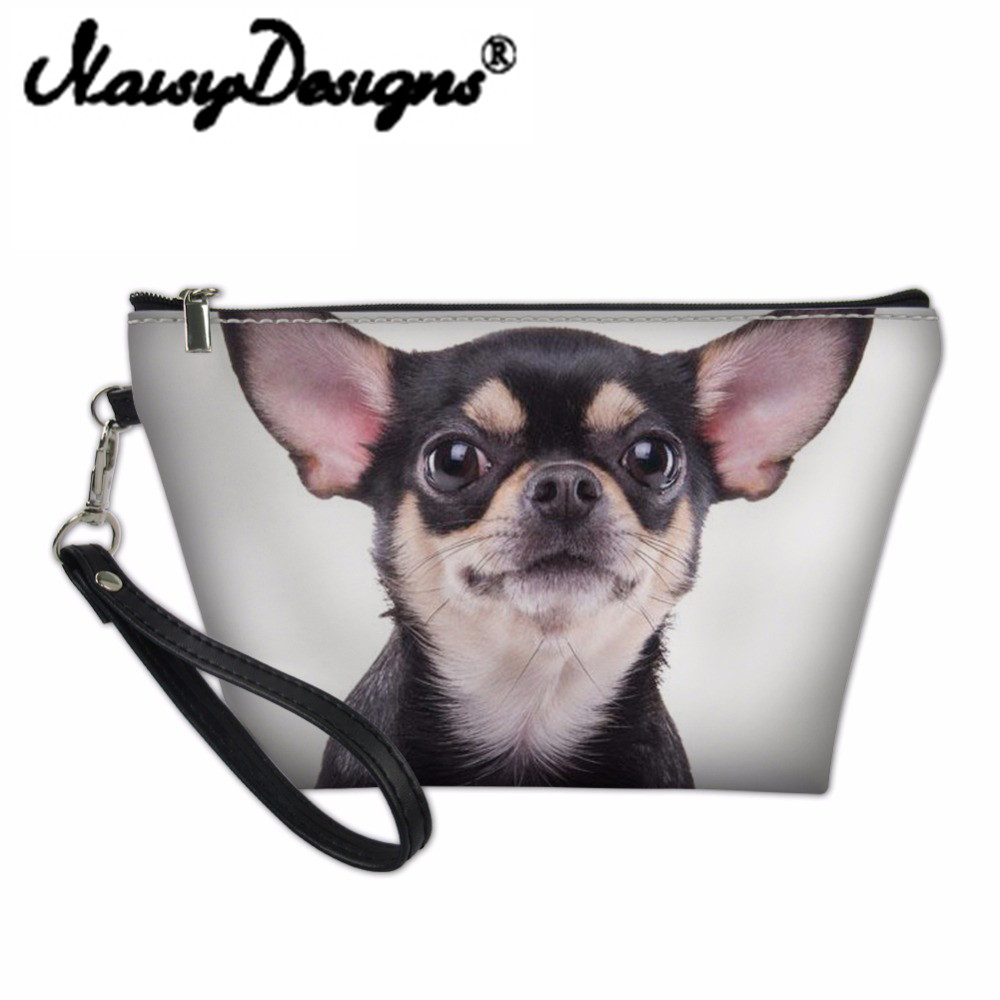 Noisydesigns Organizer Make Up Women Chihuahua Prints Cosmetic Bag Makeup Box Pouch Travel Beauty Necessaire Vanity Pochette