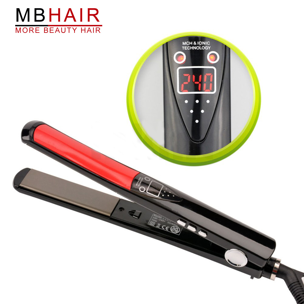 MBHAIR LCD Display Titanium plates Flat Iron Straightening Irons Styling Tools Professional Hair Straightener Free Shipping